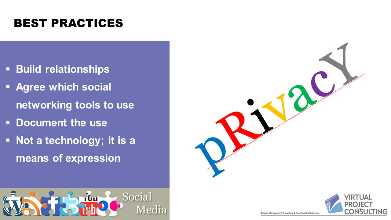 BEST PRACTICES 10  Build relationships  Agree which social networking tools to use  Document the use  Not a technology; it is a means of expression