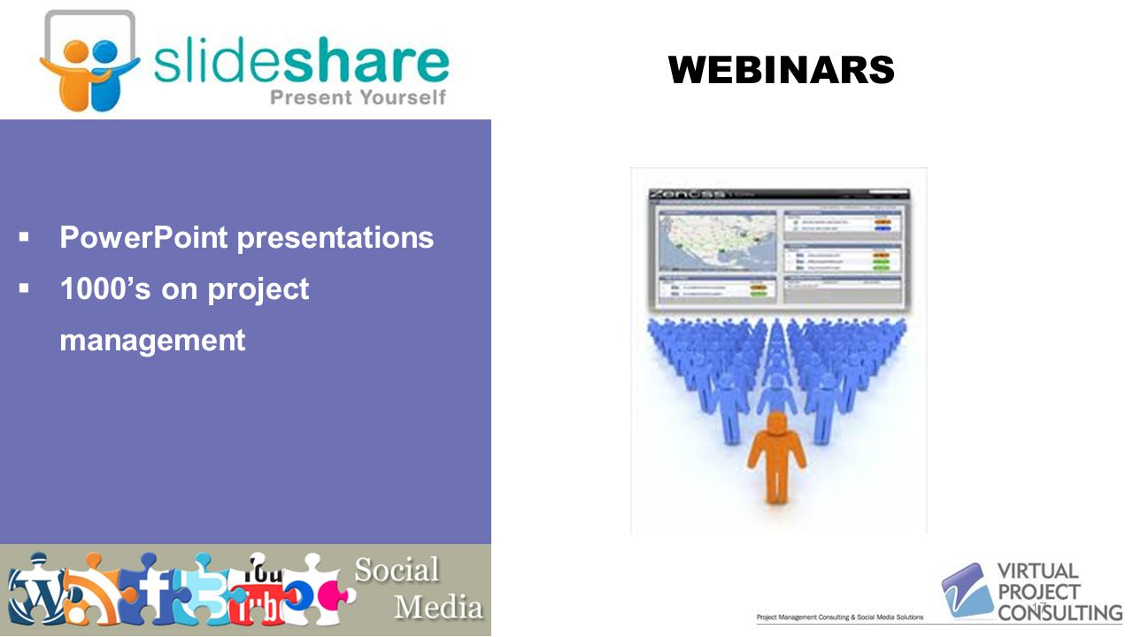 Seminar on web Presentation material on website To present a topic to virtual teams 17  PowerPoint presentations  1000's on project management WEBINARS