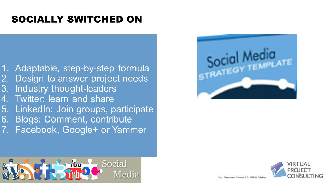 SOCIALLY SWITCHED ON Twitter: Follow Project Managers on Twitter (hashtag #pmot) LinkedIn: Join several project management groups, participate Blogs: Comment on favourite blogs, contribute to community Build community on Facebook, Google+ or Yammer Use video (Vimeo and YouTube) 23 1.Adaptable, step-by-step formula 2.Design to answer project needs 3.Industry thought-leaders 4.Twitter: learn and share 5.LinkedIn: Join groups, participate 6.Blogs: Comment, contribute 7.Facebook, Google+ or Yammer