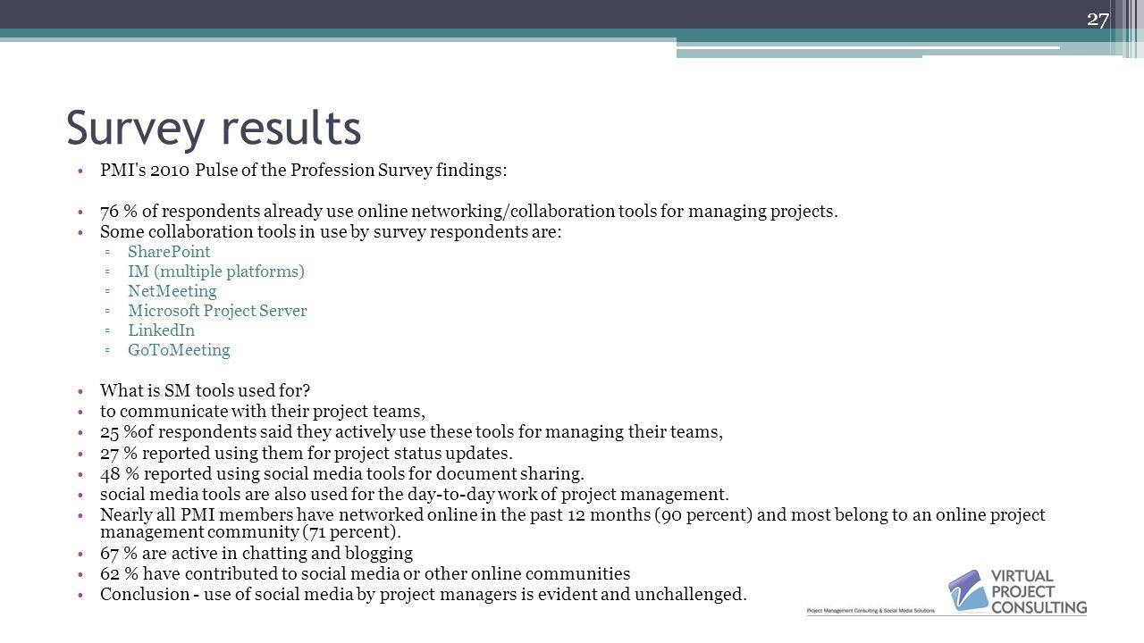 Survey results PMI s 2010 Pulse of the Profession Survey findings: 76 % of respondents already use online networking/collaboration tools for managing projects.