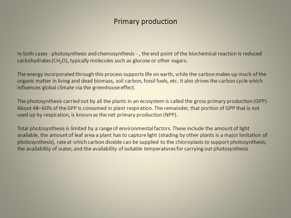 Primary production In both cases - photosynthesis and chemosynthesis -, the end point of the biochemical reaction is reduced carbohydrates (CH 2 O), t