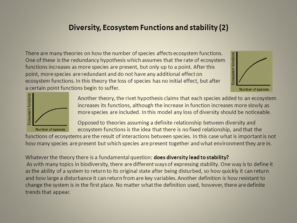 Diversity, Ecosystem Functions and stability (2) There are many theories on how the number of species affects ecosystem functions. One of these is the