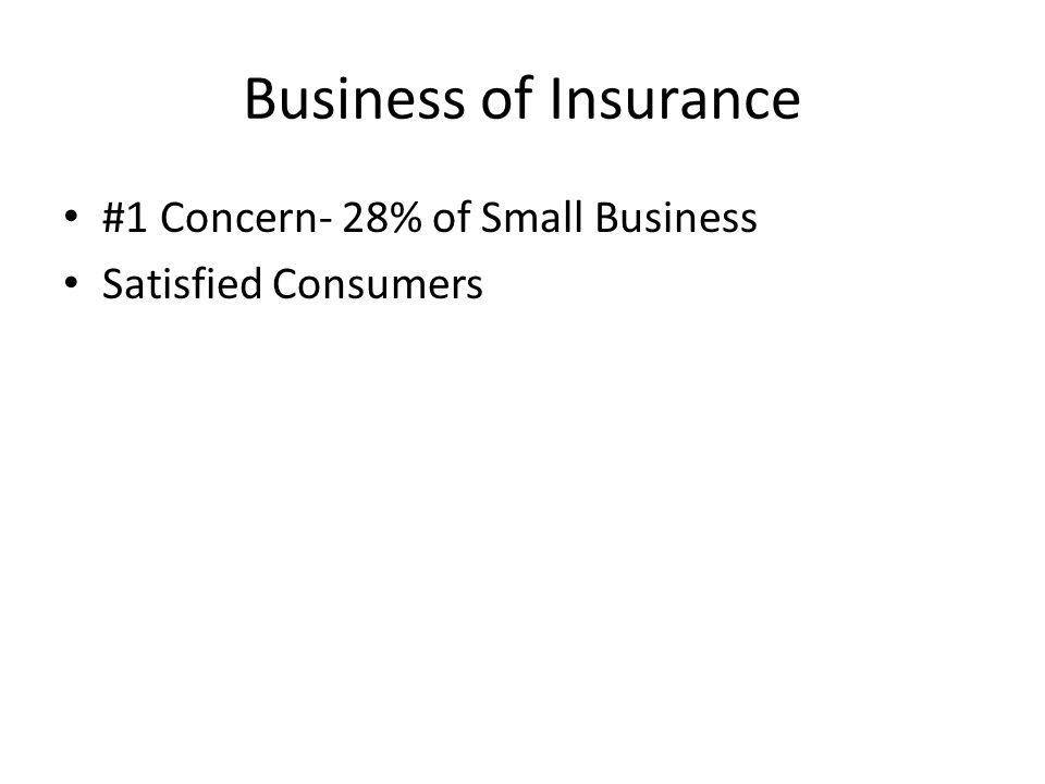 Business of Insurance #1 Concern- 28% of Small Business Satisfied Consumers