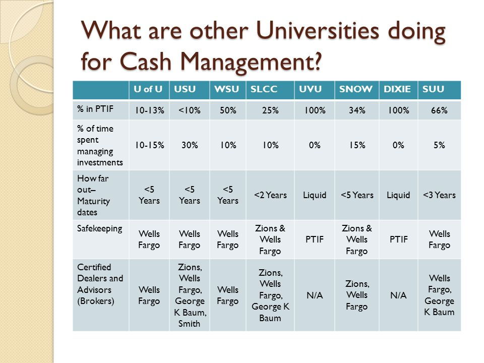 What are other Universities doing for Cash Management.