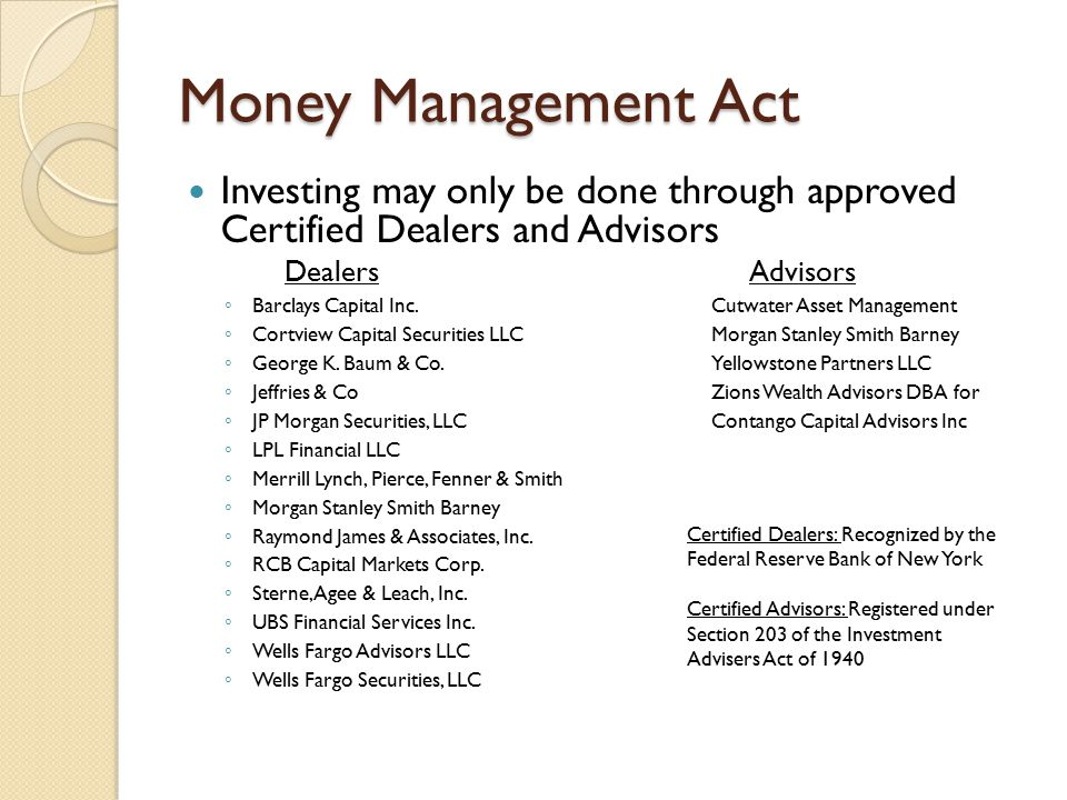 Money Management Act Investing may only be done through approved Certified Dealers and Advisors Dealers Advisors ◦ Barclays Capital Inc.Cutwater Asset