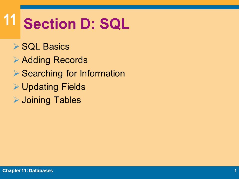 11 Section D: SQL  SQL Basics  Adding Records  Searching for Information  Updating Fields  Joining Tables Chapter 11: Databases1