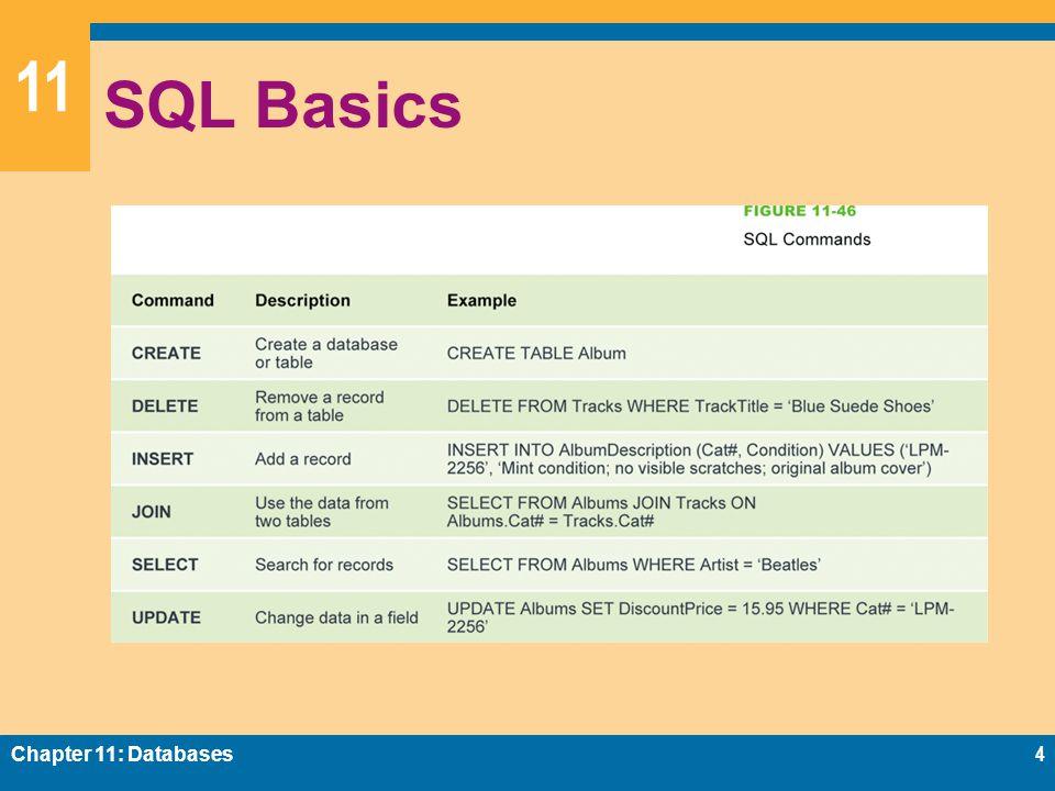 11 SQL Basics Chapter 11: Databases4