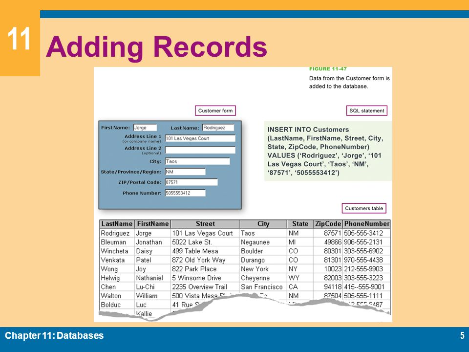 11 Adding Records Chapter 11: Databases5