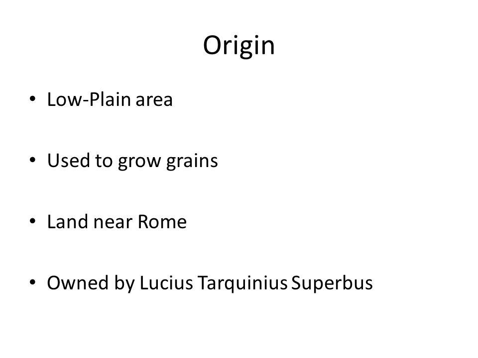 Origin Low-Plain area Used to grow grains Land near Rome Owned by Lucius Tarquinius Superbus