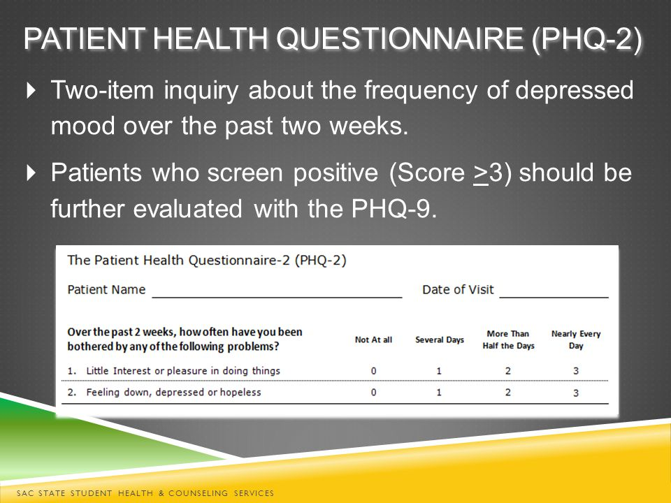 PATIENT HEALTH QUESTIONNAIRE (PHQ-2)  Two-item inquiry about the frequency of depressed mood over the past two weeks.  Patients who screen positive