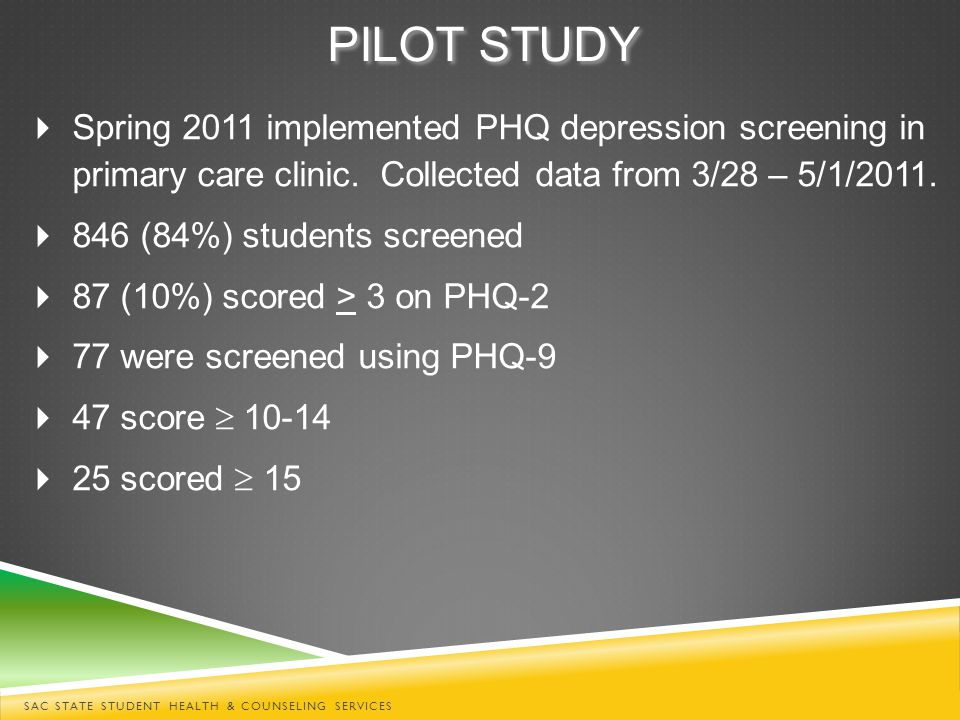  Spring 2011 implemented PHQ depression screening in primary care clinic.