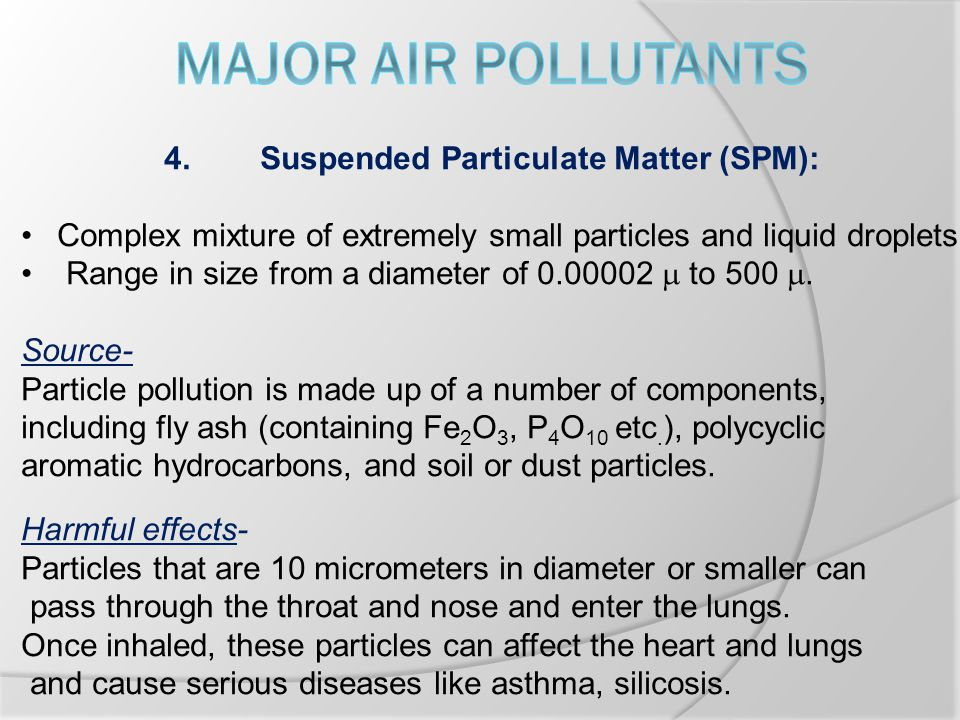 4.Suspended Particulate Matter (SPM): Complex mixture of extremely small particles and liquid droplets Range in size from a diameter of 0.00002  to 500 .
