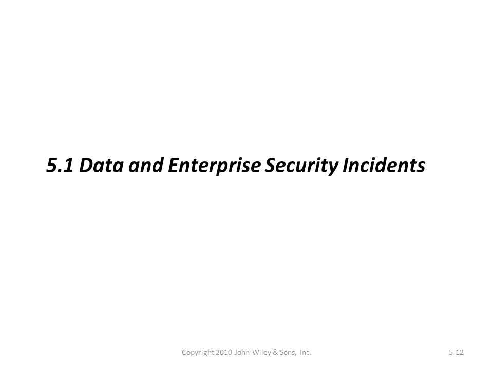 Copyright 2010 John Wiley & Sons, Inc.5-12 5.1 Data and Enterprise Security Incidents