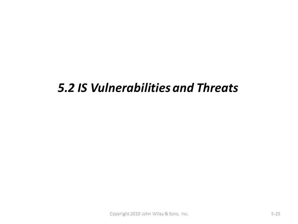 Copyright 2010 John Wiley & Sons, Inc.5-25 5.2 IS Vulnerabilities and Threats