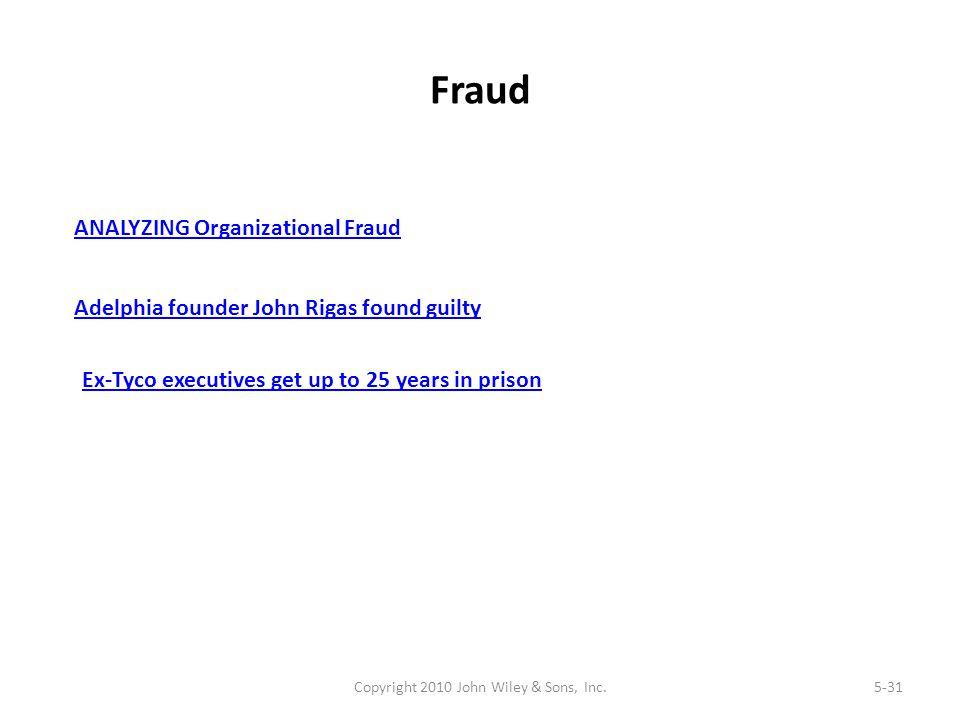 Fraud Copyright 2010 John Wiley & Sons, Inc.5-31 ANALYZING Organizational Fraud Adelphia founder John Rigas found guilty Ex-Tyco executives get up to