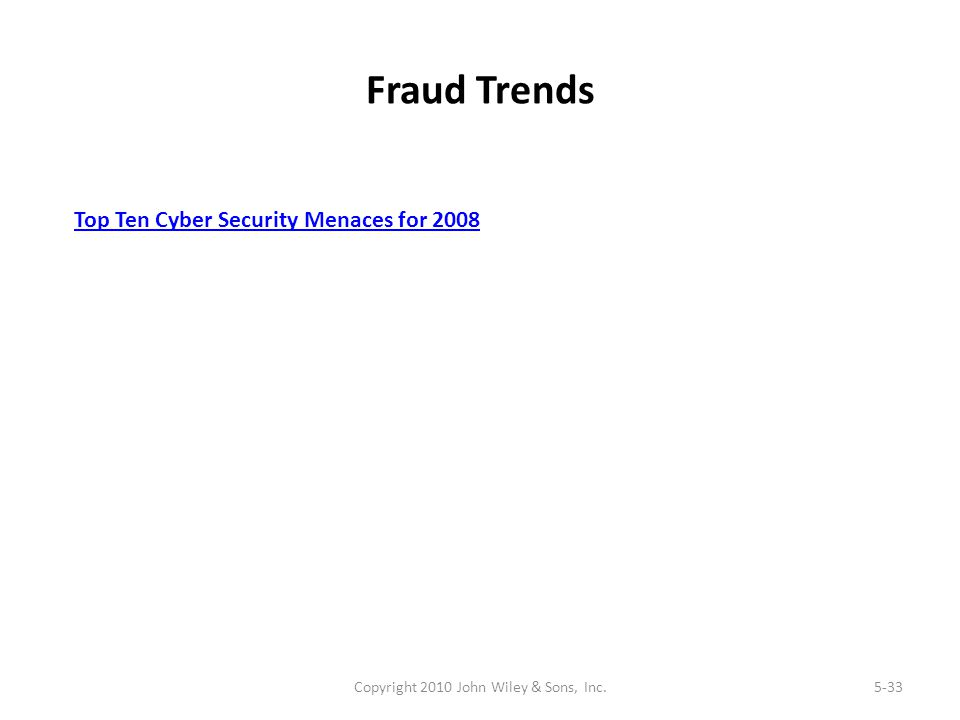 Fraud Trends Copyright 2010 John Wiley & Sons, Inc.5-33 Top Ten Cyber Security Menaces for 2008