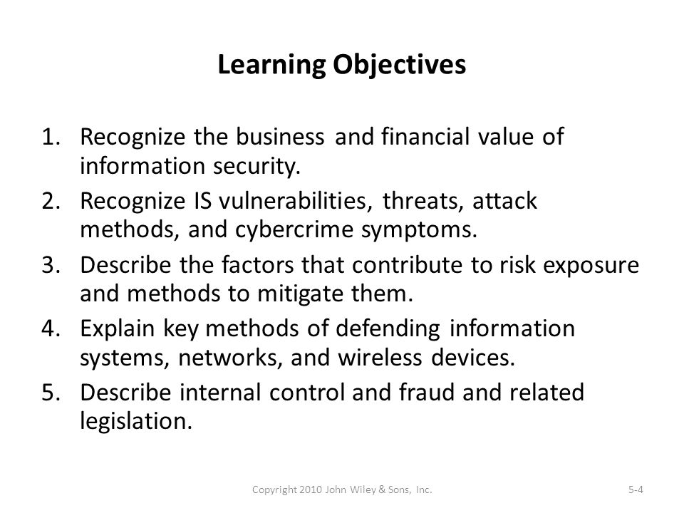 Learning Objectives 1.Recognize the business and financial value of information security. 2.Recognize IS vulnerabilities, threats, attack methods, and