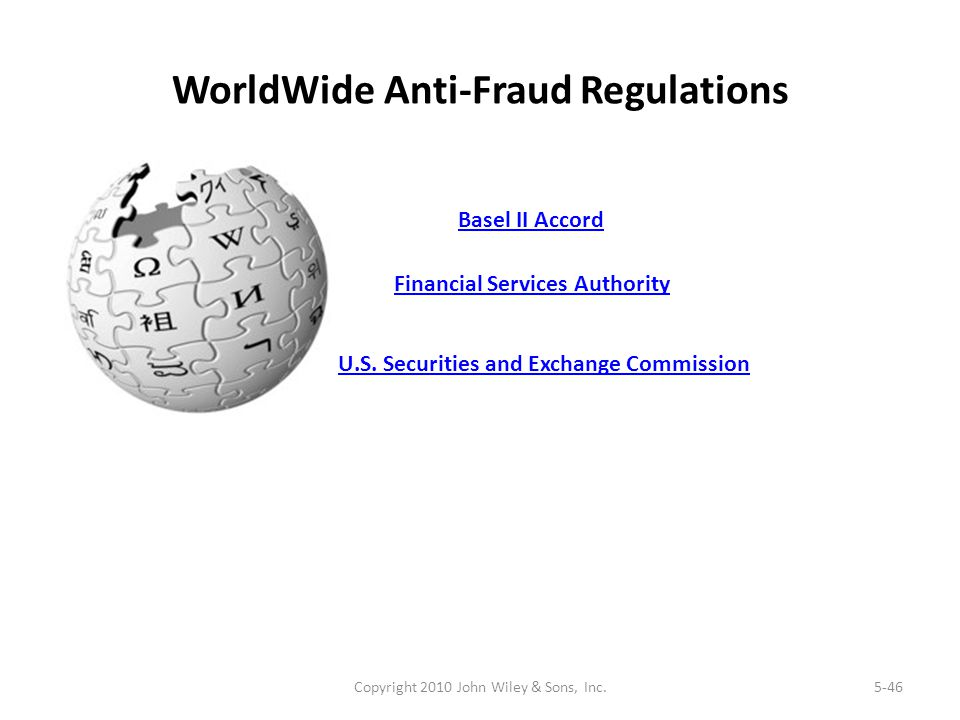 WorldWide Anti-Fraud Regulations Copyright 2010 John Wiley & Sons, Inc.5-46 Financial Services Authority U.S. Securities and Exchange Commission Basel