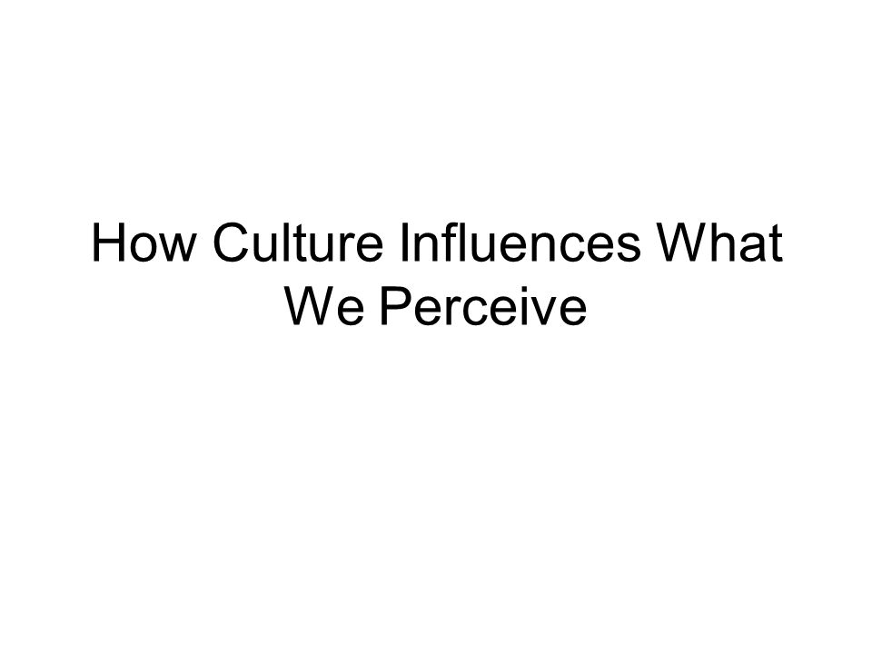 How Culture Influences What We Perceive