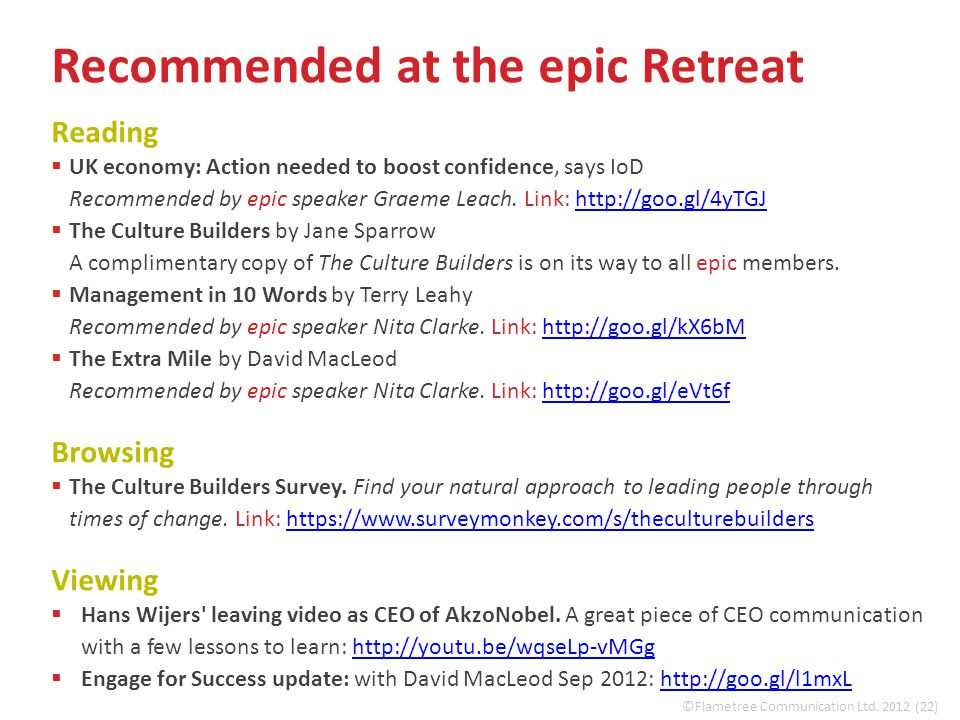 Recommended at the epic Retreat Reading  UK economy: Action needed to boost confidence, says IoD Recommended by epic speaker Graeme Leach.