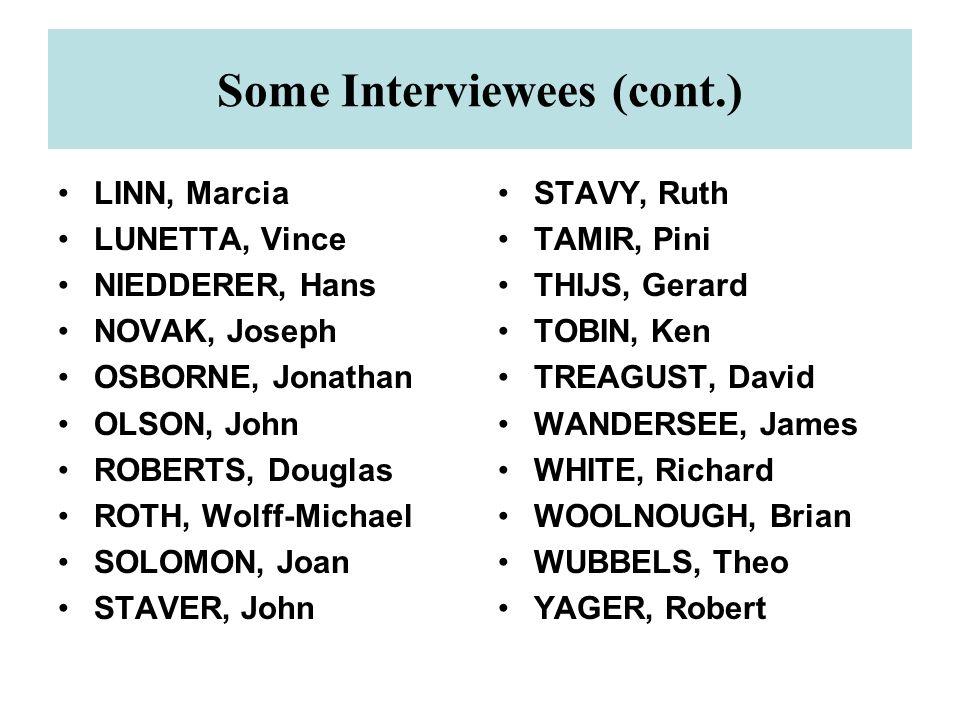 Some Interviewees (cont.) LINN, Marcia LUNETTA, Vince NIEDDERER, Hans NOVAK, Joseph OSBORNE, Jonathan OLSON, John ROBERTS, Douglas ROTH, Wolff-Michael