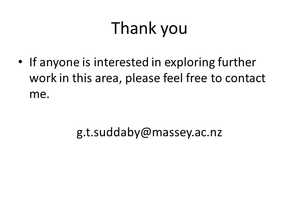 Thank you If anyone is interested in exploring further work in this area, please feel free to contact me.