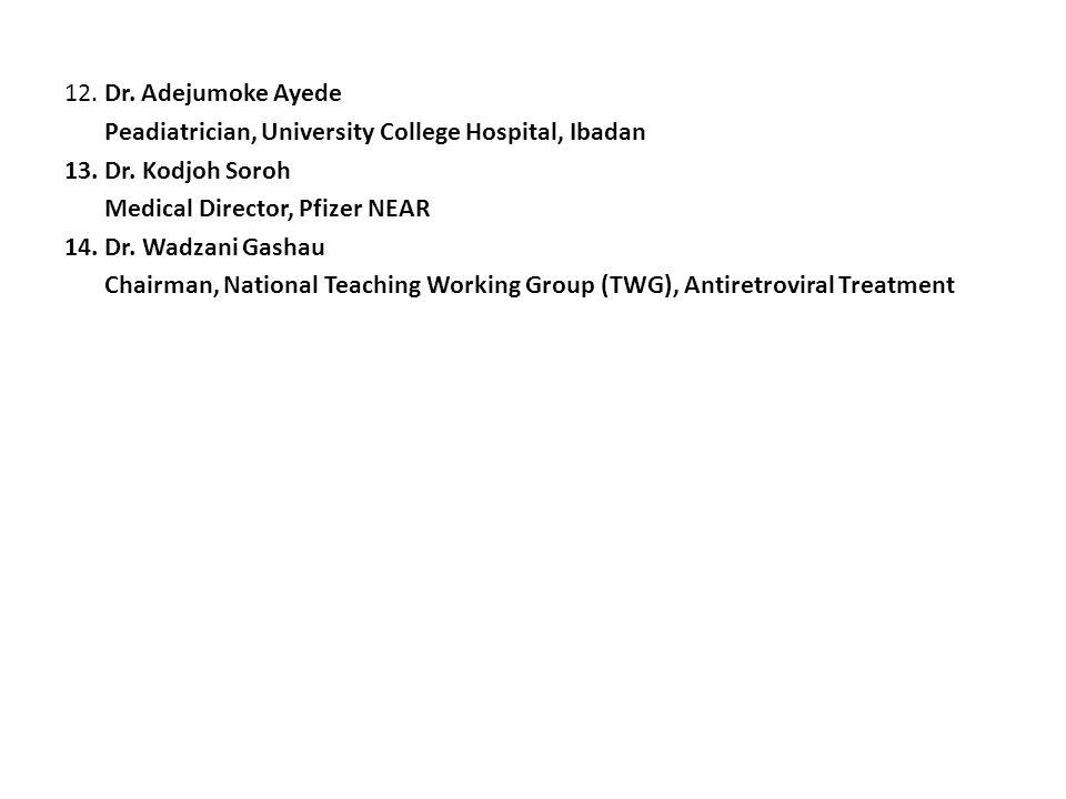 12. Dr. Adejumoke Ayede Peadiatrician, University College Hospital, Ibadan 13. Dr. Kodjoh Soroh Medical Director, Pfizer NEAR 14. Dr. Wadzani Gashau C