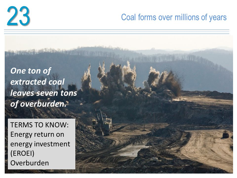 23 Coal forms over millions of years TERMS TO KNOW: Energy return on energy investment (EROEI) Overburden One ton of extracted coal leaves seven tons
