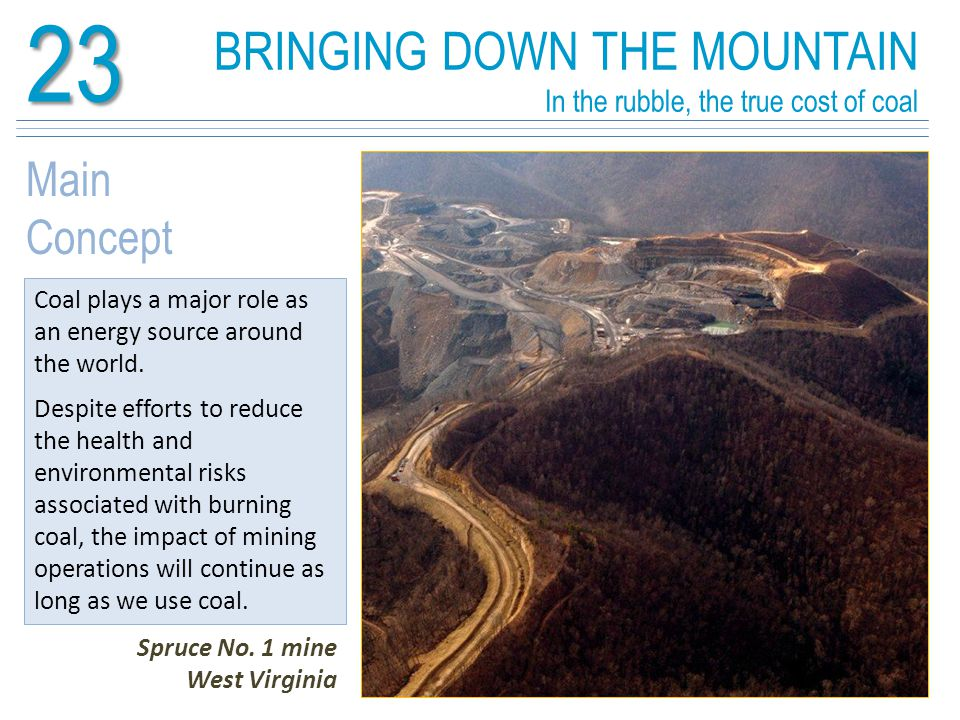 BRINGING DOWN THE MOUNTAIN In the rubble, the true cost of coal23 Learning Outcomes At the end of this unit you should know: The importance of coal as a global energy source Methods associated with extracting coal and using it to generate electricity The role of technology in reducing negative impacts Spruce No.