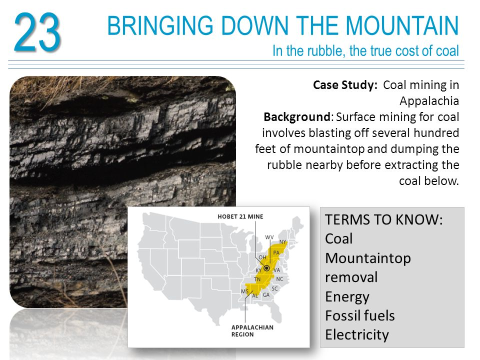 23 Surface mining brings severe environmental impacts Loss of biodiversity in aquatic systems affects forest life and impacts the very base of the food web.