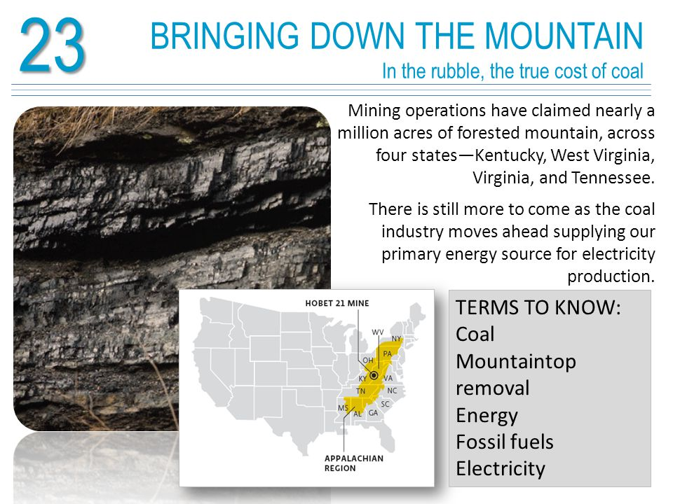 23 Coal forms over millions of years TERMS TO KNOW: Energy return on energy investment (EROEI) Coal is formed over long periods of time as plant matter is buried in an oxygen-poor environment and subjected to high heat and pressure.