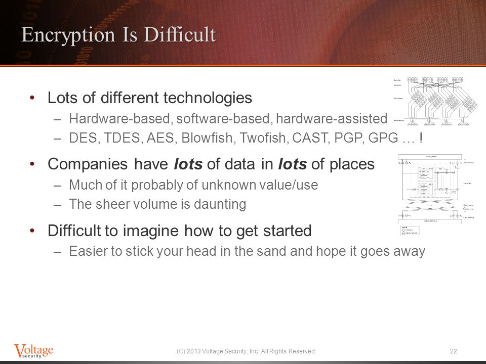 Encryption Is Difficult Lots of different technologies –Hardware-based, software-based, hardware-assisted –DES, TDES, AES, Blowfish, Twofish, CAST, PG