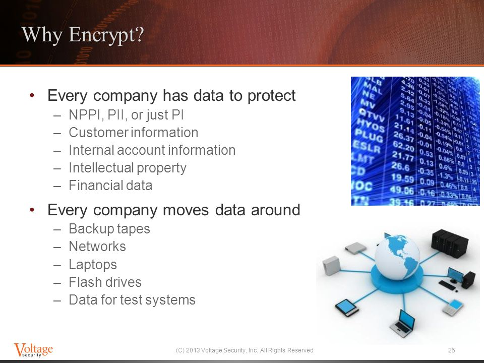 Why Encrypt? Every company has data to protect –NPPI, PII, or just PI –Customer information –Internal account information –Intellectual property –Fina