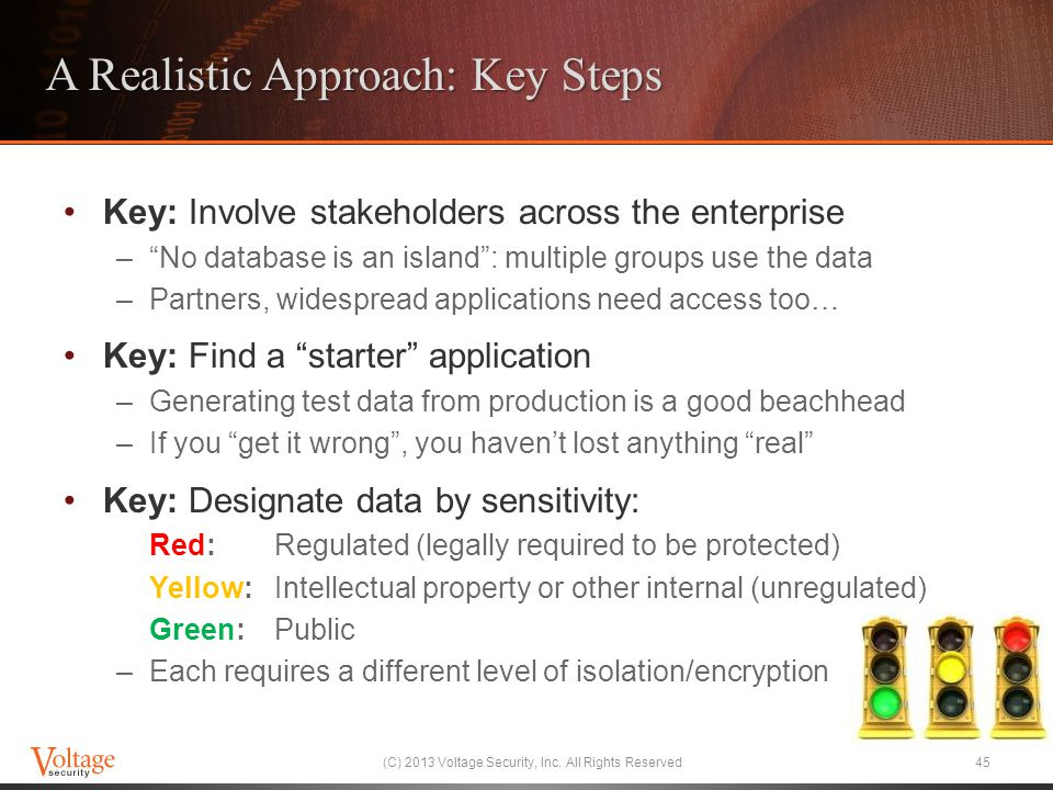 "A Realistic Approach: Key Steps Key: Involve stakeholders across the enterprise –""No database is an island"": multiple groups use the data –Partners, w"