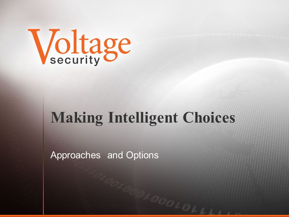 Making Intelligent Choices Approaches and Options