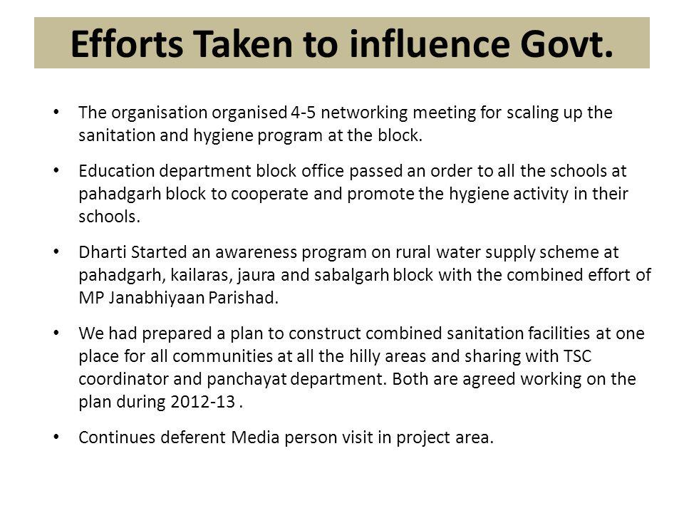 Efforts Taken to influence Govt.