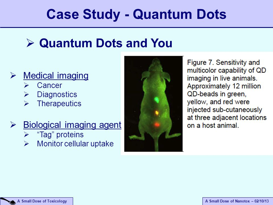 A Small Dose of ToxicologyA Small Dose of Nanotox – 02/10/13 Case Study - Quantum Dots  Quantum Dots and You  Medical imaging  Cancer  Diagnostics  Therapeutics  Biological imaging agent  Tag proteins  Monitor cellular uptake
