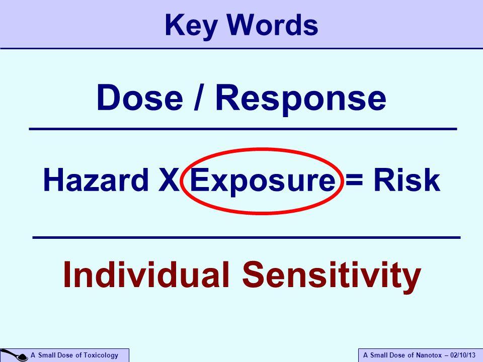 A Small Dose of ToxicologyA Small Dose of Nanotox – 02/10/13 Key Words Hazard X Exposure = Risk Dose / Response Individual Sensitivity