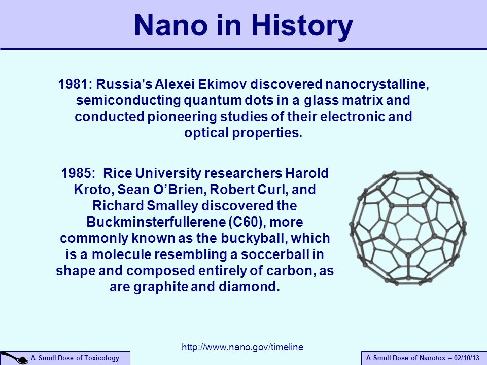 A Small Dose of ToxicologyA Small Dose of Nanotox – 02/10/13 Nano in History 1981: Russia's Alexei Ekimov discovered nanocrystalline, semiconducting quantum dots in a glass matrix and conducted pioneering studies of their electronic and optical properties.