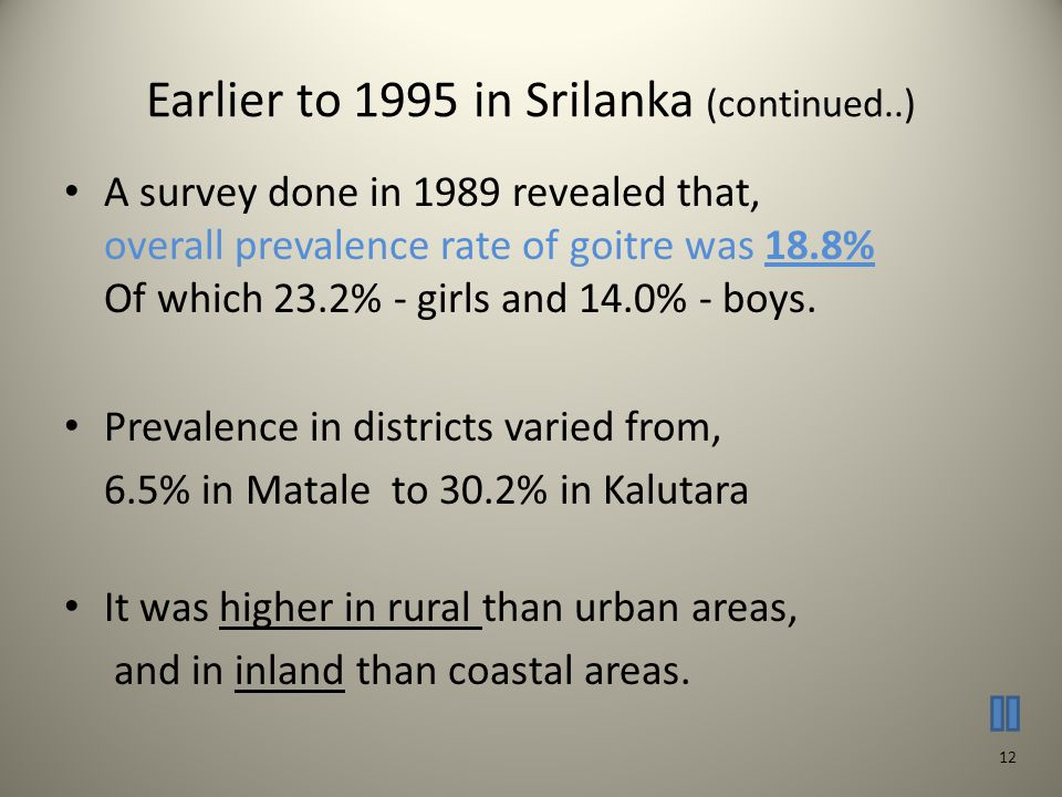 Earlier to 1995 in Srilanka (continued..) A survey done in 1989 revealed that, overall prevalence rate of goitre was 18.8% Of which 23.2% - girls and 14.0% - boys.