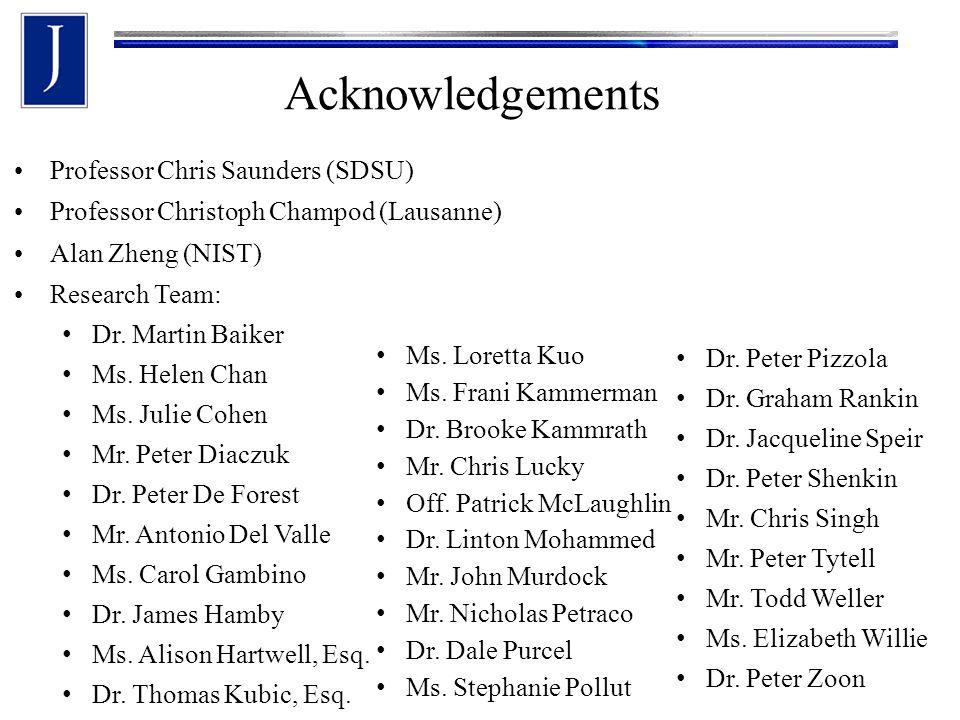 Acknowledgements Professor Chris Saunders (SDSU) Professor Christoph Champod (Lausanne) Alan Zheng (NIST) Research Team: Dr. Martin Baiker Ms. Helen C