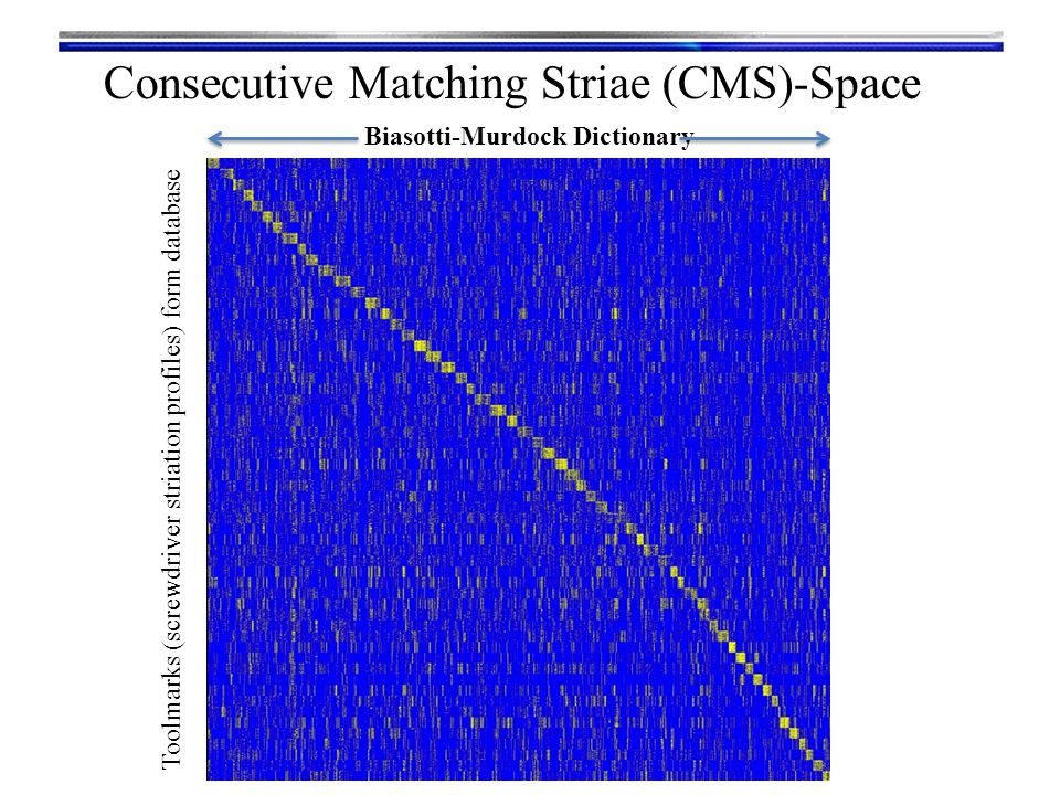 Toolmarks (screwdriver striation profiles) form database Biasotti-Murdock Dictionary Consecutive Matching Striae (CMS)-Space