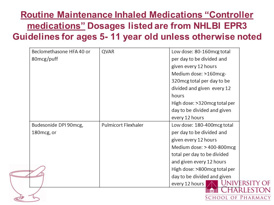 Routine Maintenance Inhaled Medications Controller medications Dosages listed are from NHLBI EPR3 Guidelines for ages 5- 11 year old unless otherwise noted Beclomethasone HFA 40 or 80mcg/puff QVAR Low dose: 80-160mcg total per day to be divided and given every 12 hours Medium dose: >160mcg- 320mcg total per day to be divided and given every 12 hours High dose: >320mcg total per day to be divided and given every 12 hours Budesonide DPI 90mcg, 180mcg, or Pulmicort FlexhalerLow dose: 180-400mcg total per day to be divided and given every 12 hours Medium dose: > 400-800mcg total per day to be divided and given every 12 hours High dose: >800mcg total per day to be divided and given every 12 hours