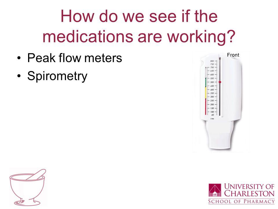 How do we see if the medications are working Peak flow meters Spirometry