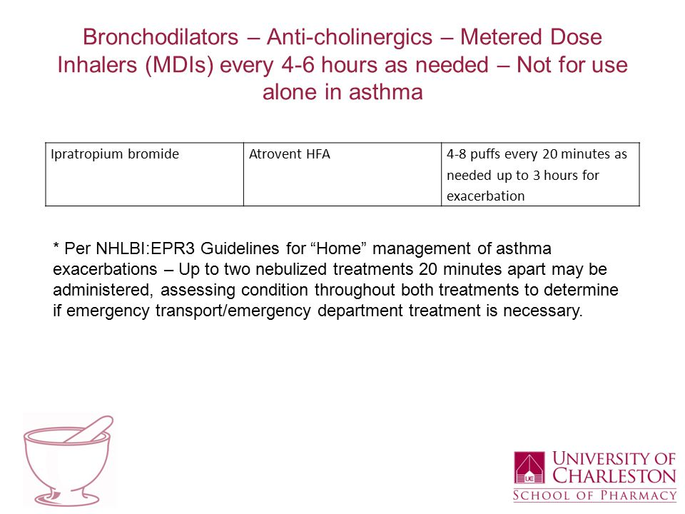 Bronchodilators – Anti-cholinergics – Metered Dose Inhalers (MDIs) every 4-6 hours as needed – Not for use alone in asthma Ipratropium bromideAtrovent HFA4-8 puffs every 20 minutes as needed up to 3 hours for exacerbation * Per NHLBI:EPR3 Guidelines for Home management of asthma exacerbations – Up to two nebulized treatments 20 minutes apart may be administered, assessing condition throughout both treatments to determine if emergency transport/emergency department treatment is necessary.