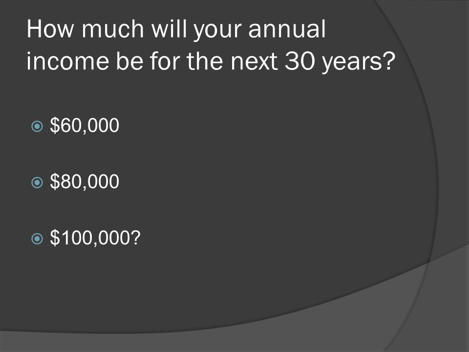 How much will your annual income be for the next 30 years?  $60,000  $80,000  $100,000?