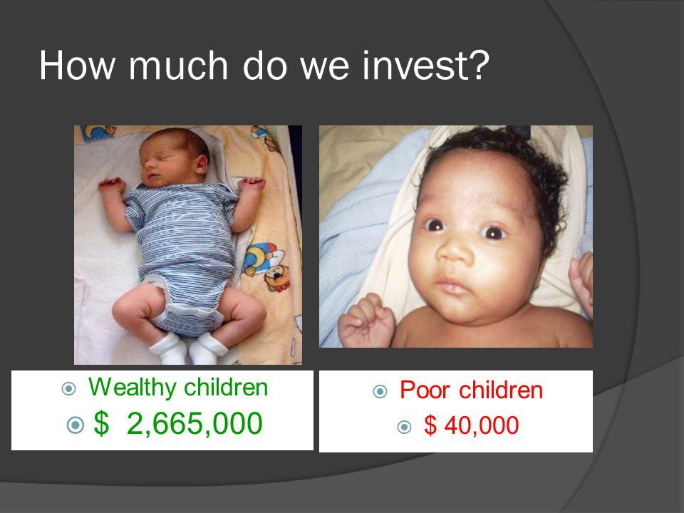 How much do we invest  Wealthy children  $ 2,665,000  Poor children  $ 40,000