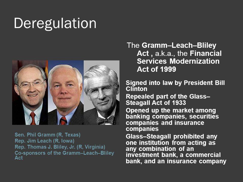 Deregulation Sen. Phil Gramm (R, Texas) Rep. Jim Leach (R, Iowa) Rep.