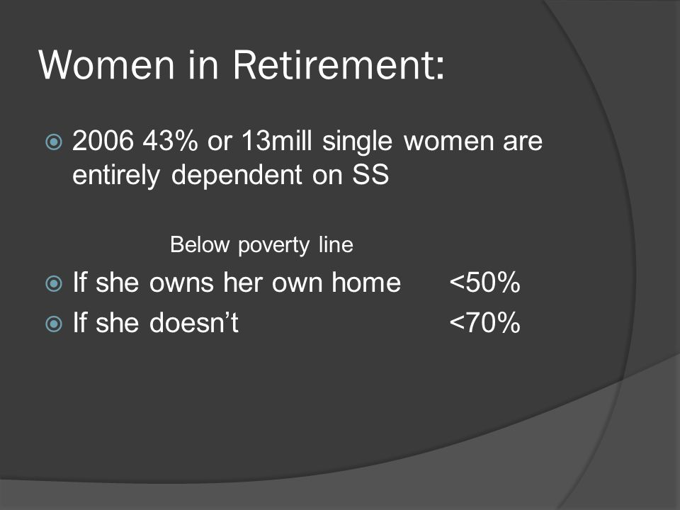 Women in Retirement:  2006 43% or 13mill single women are entirely dependent on SS Below poverty line  If she owns her own home <50%  If she doesn'