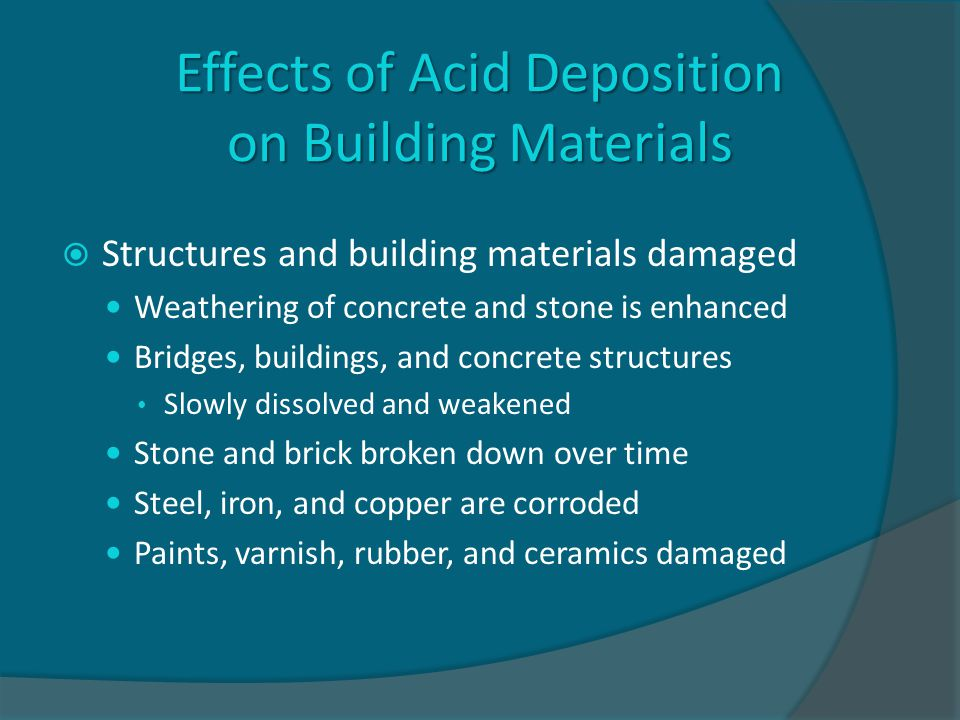 Effects of Acid Deposition on Building Materials  Structures and building materials damaged Weathering of concrete and stone is enhanced Bridges, buildings, and concrete structures Slowly dissolved and weakened Stone and brick broken down over time Steel, iron, and copper are corroded Paints, varnish, rubber, and ceramics damaged